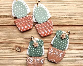 Earrings cactus terra cotta pots handmade boho hippie polymer clay pierced