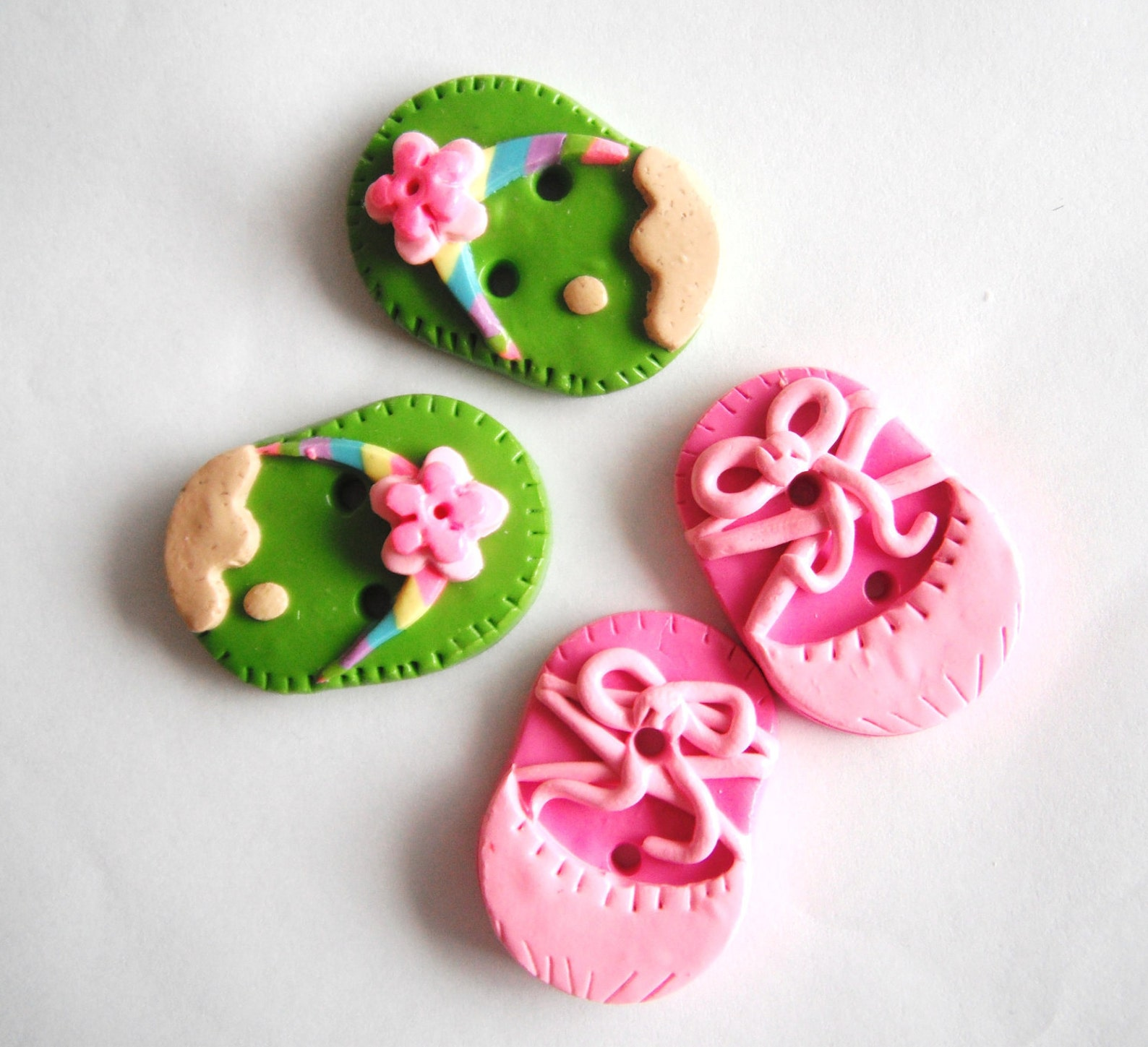 button flip flops and ballet slippers handmade polymer clay buttons ( 4 )