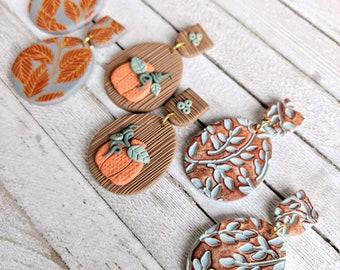 Autumn earrings dangle handmade pierced nickel free polymer clay