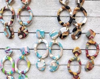 Mak earrings polymer clay dangle colorful handmade pierced abstract retro