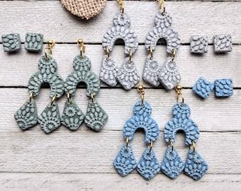 Earrings Morgan dangle studpacks polymer clay handmade boho hippie pierced earrings with gold tone nickel free posts
