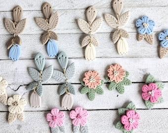 Samantha Earrings and Sam Studs polymer clay flower  pierced dangle boho pastel handmade