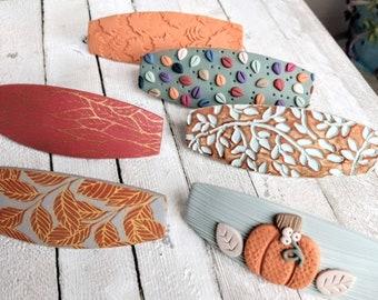 Barrettes Fall Autumn polymer clay handmade holiday season