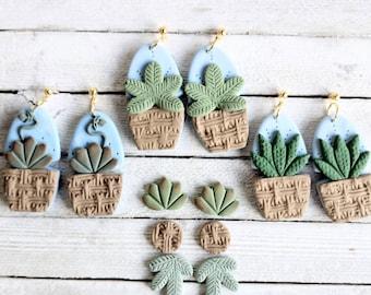 Earrings plants in baskets polymer clay handmade pierced dangle studpacks