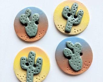 Cactus sunset polymer clay buttons desert handmade set of 4
