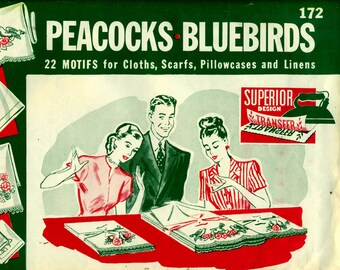 PEACOCKS & BLUEBIRDS Superior 172 Hot Iron Embroidery Transfers ORIGINAL Uncut
