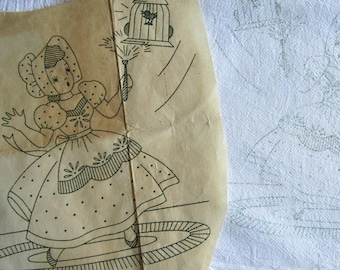 Tea Towel Pair STAMPED FOR EMBROIDERY Charming Busy Cleaning Girl