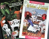 TWO Plastic Canvas Patterns WICKER LOUNGE Garden Furniture Fashion Doll Furnishings Annie 39 s Attic and House of White Birches