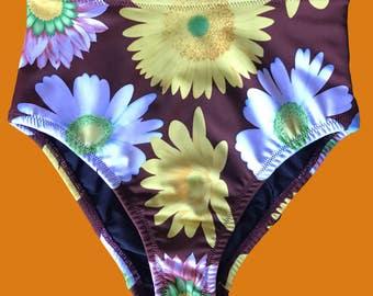 NEW Cocoa Flower High Waisted Cheeky Fit Bikini Bottom