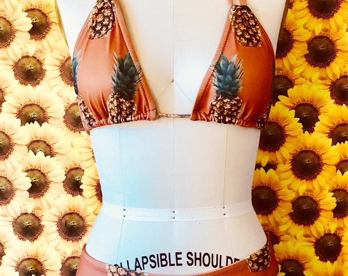 NEW Caramel Pineapple High Waisted Cheeky Fit Bikini Set