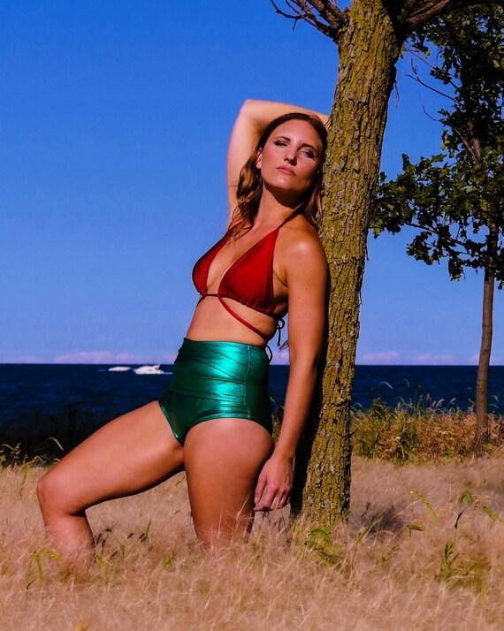 N a t a l i y a  Mettalic High Waisted Bikini with Wrap Around Strap Detail