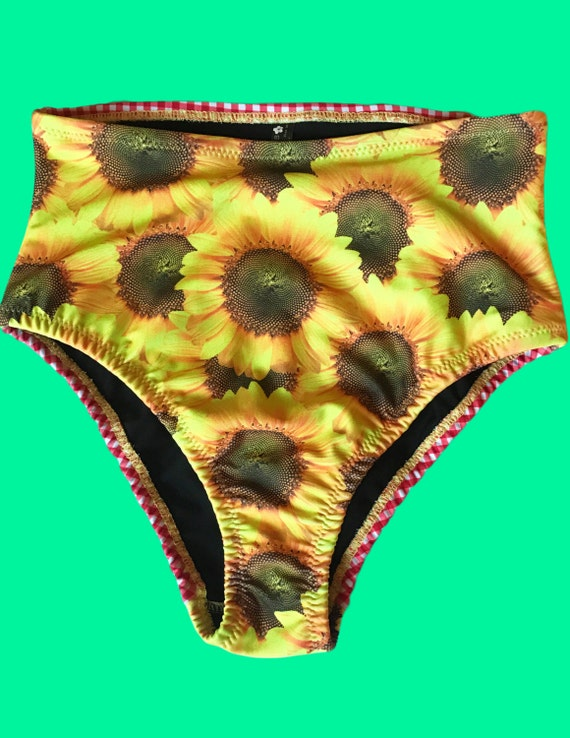 NEW Sunflower Plaid High Waisted Cheeky Fit Bikini Bottom
