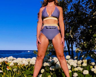 M e g  High Waisted Bikini with Gold Elastic, Cut Outs & Ruffles
