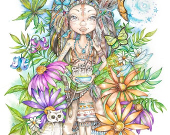 Indian Giver, Watercolor Reproduction by Linda Biggs