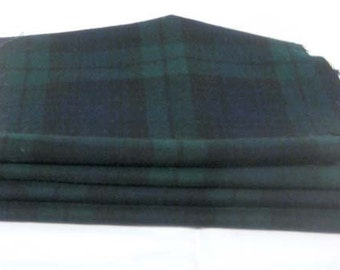 100% WOOL BLACK WATCH Plaid Pieces Recyled from Vintage Mens Trousers