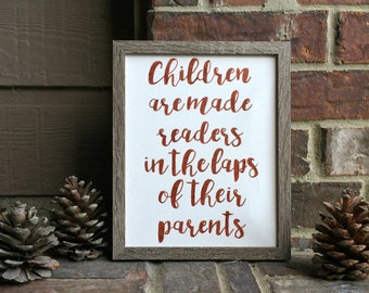 """8"""" x 10"""" Children are made readers Inked onto Wrapped Canvas"""
