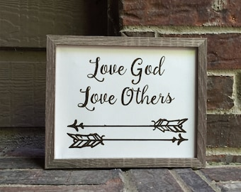 """8""""x10"""" Love God Love Others with arrows Inked on Wrapped Canvas"""