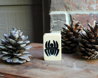 Spider Carved Wood Miniature Sign - Hand Painted, Reclaimed Wood