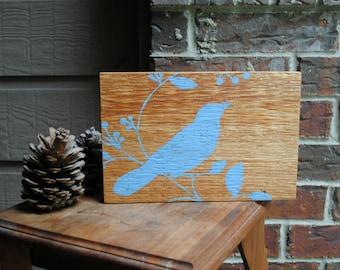 Bird Sitting on Branch Art Block on Reclaimed Cedar Wood
