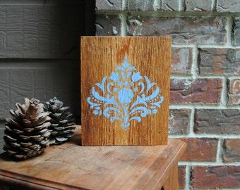 Flourish Art Block made on Reclaimed Cedar Wood
