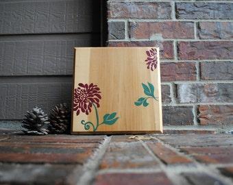 Reclaimed Wood Floral Wall Art - Wall Decor - Flower