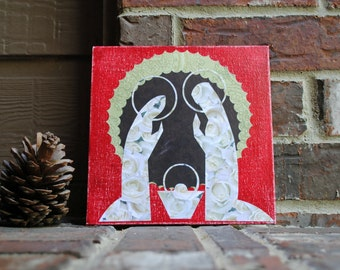 "Nativity - Virgin Mary, Jesus, and St. Joseph - on 8"" x 8"" Canvas Panel."