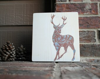 Deer Reclaimed Wood Tile - Art Block - on White Wood