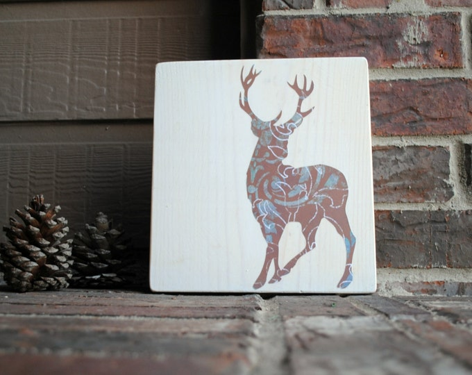 Featured listing image: Deer Reclaimed Wood Tile - Art Block - on White Wood