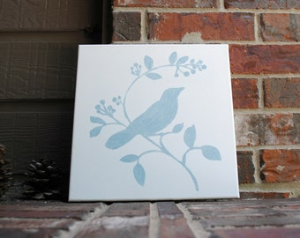 Bird Sitting on Branch Art on Stretched Canvas