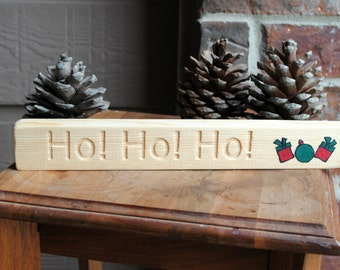 Ho Ho Ho Carved Wood Christmas Sign with Presents - Reclaimed Wood, Hand Painted