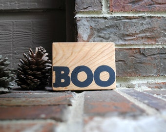 Boo Painted Reclaimed Wood Sign for Halloween
