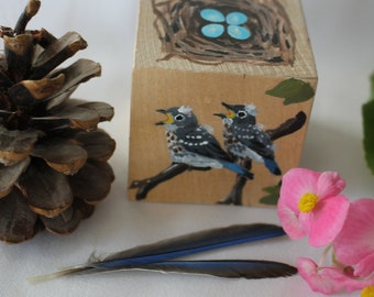 The Bluebird Block - Nest and Eggs Handpainted Wood Block