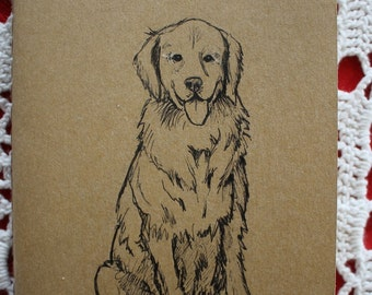 Golden Retriever Dog - Hand Illustrated Pocket Moleskine Sketchbook / Notebook / Journal