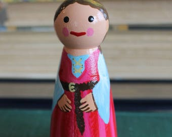 "Pink Princess Peg Doll - Large 3.5"" size"