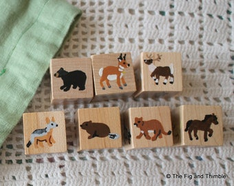 Animals of North America Storytelling Cubes - Handpainted Wood, Set of Seven