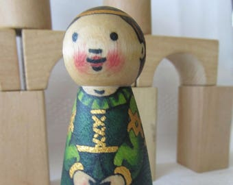 Princess Peg Doll -watercolored large size 3.5""