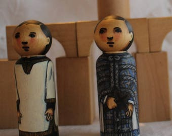"""Byzantine Peg Doll Priest and Altar Server Set - watercolored large size 3.5"""""""
