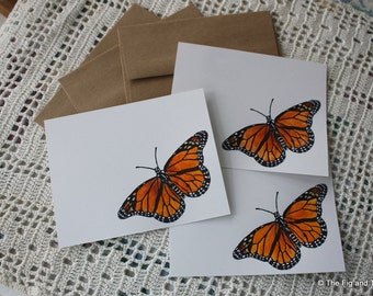 Monarch Butterfly Flat Note Card Set - Handstamped Set of Six - from original handcarved stamp