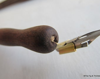Shop Seconds (Cracked & Repaired) - Walnut Oblique Dip Pen With Nib - Hand Turned Calligraphy Pen Holder