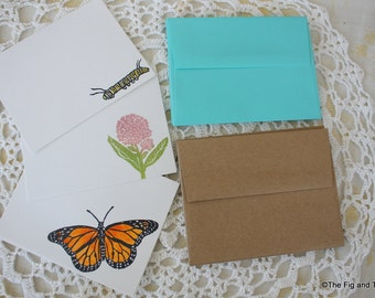 Monarch Flat Note Card Set - Handstamped Set of Six - Milkweed Caterpillar Butterfly from original handcarved stamps