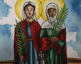 "Sts. Perpetua and Felicity - Ready to Ship - Original Watercolor 5 x 7"" Painting"