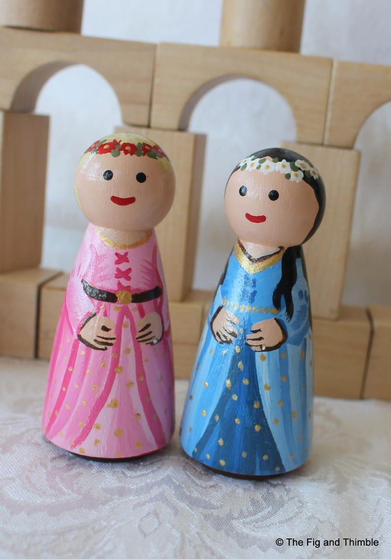 Princess Peg Doll Choose One Pink Or Blue Large 35 Size