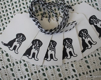 Black and White Puppy Dog Gift Tags - Puppy Party Favors - Set of Six hand stamped from hand carved stamp