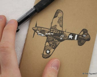 P40 Warhawk - WWII Airplane Moleskine Sketchbook Pocket Size / Notebook / Journal Hand Illustrated
