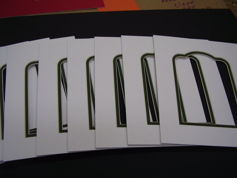 Picture Frame Mat Arch top Ivory with forest green liner 8x10  for 5x7 photo set of twenty mats