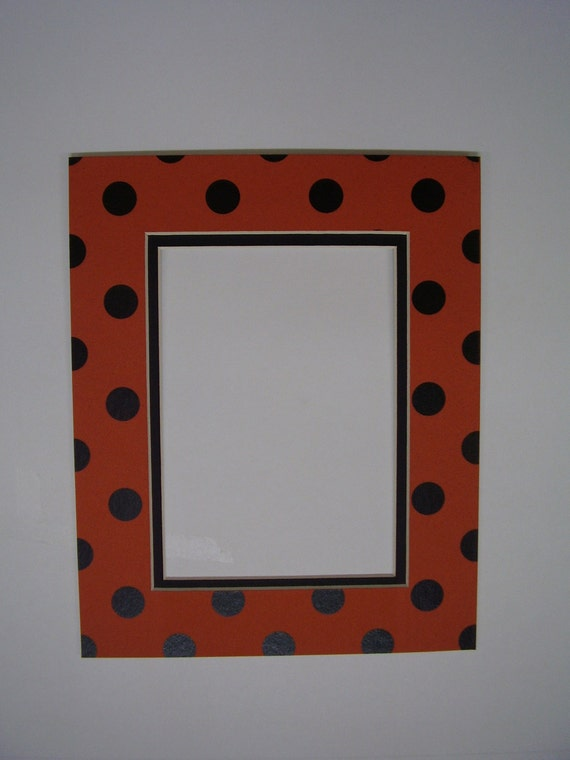 Picture Framing Mat Polka Dots Orange And Black Halloween Etsy