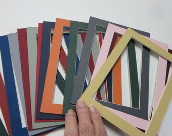 Picture Frame Mats for 8x10 for 6x8 photo Set of 10 assorted colors