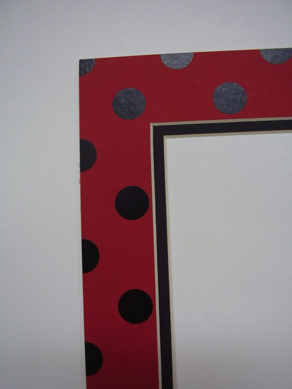 Picture Framing Mat Polka Dots Red And Black 8x10 For 5x7 Etsy