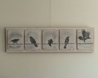 "Handcrafted Cherry Wood Display Board for ""Wired"" Crow Pulp Paintings, Item No. 273"