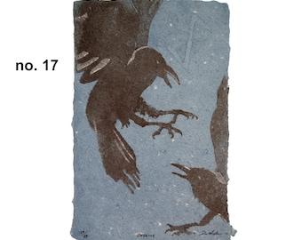 Defense (Crow Divination Series) – bird pulp painting on handmade indigo-dyed paper with Viking rune watermark (2020), Item No. 317.17_24